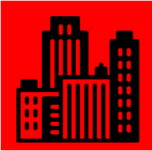 Red box with building icon inside